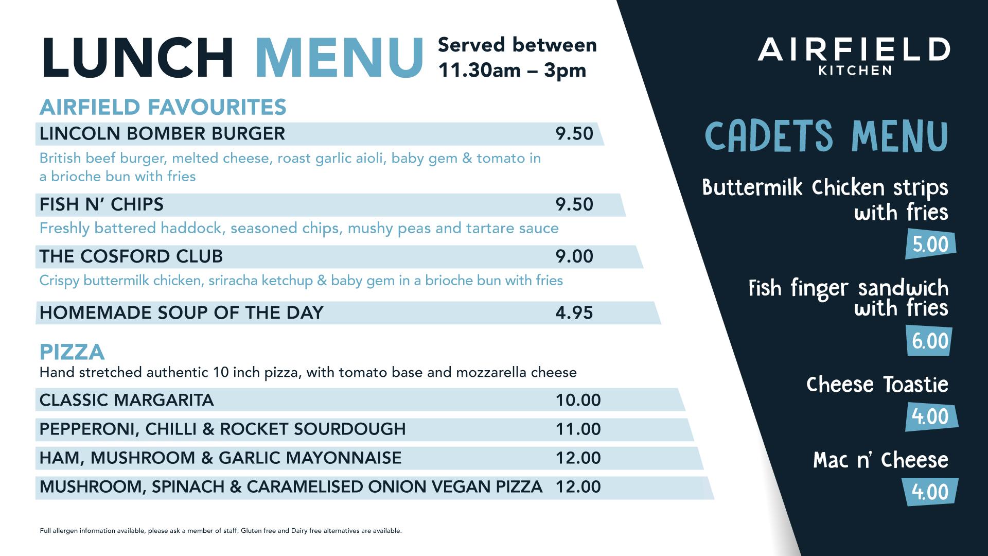 Cosford Lunch Menu