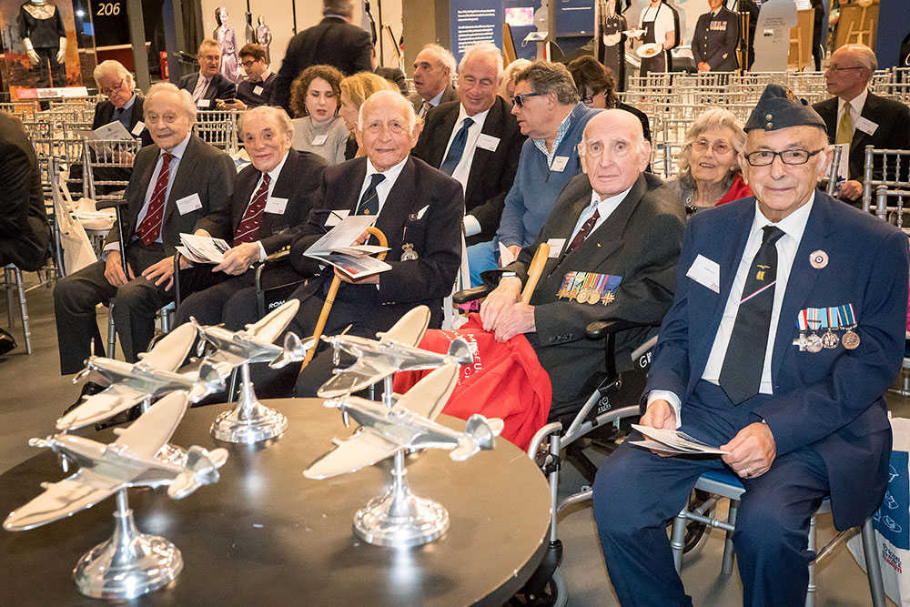 Squadron Leader Lawrence 'Benny' Goodman far left at the launch of Hidden Heroes in 2018