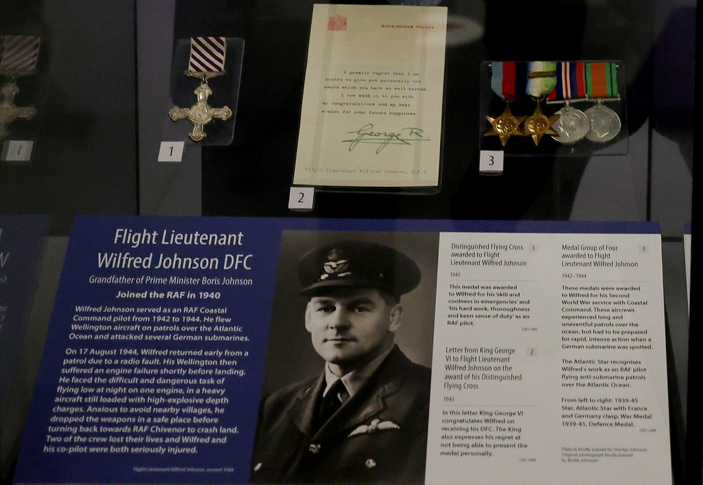 A Photograph of Wilfred Johnson DFC and his medals