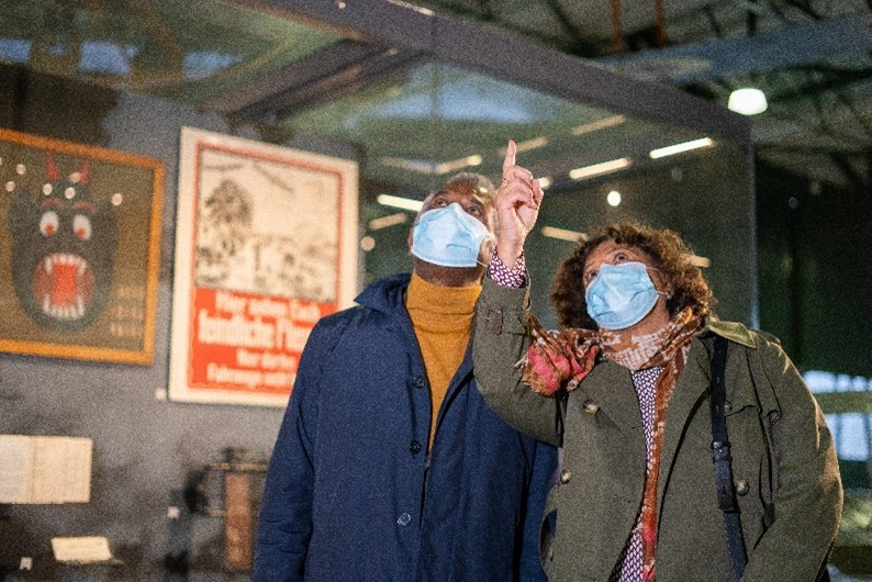 Visitors with masks