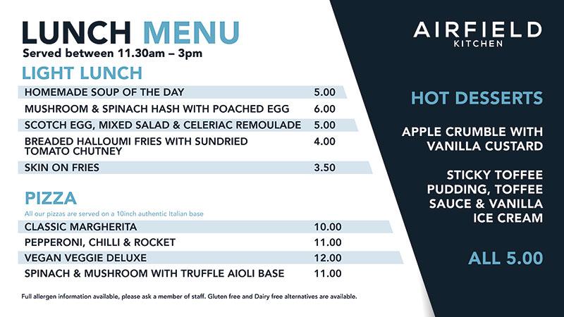 Light Lunch menu October 21