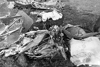 Wreckage of the Spitfire aircraft of Sgt Blažej KONVALINA after its crash. Moravské zemské muzeum