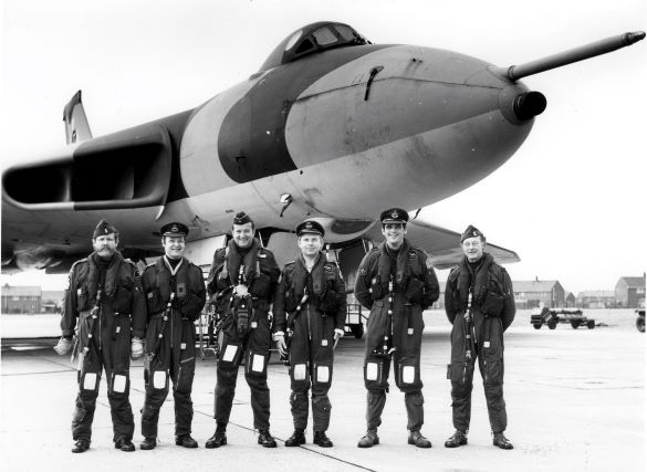 Andrew Brookes (3rd from right) with his 35 Squadron Vulcan crew