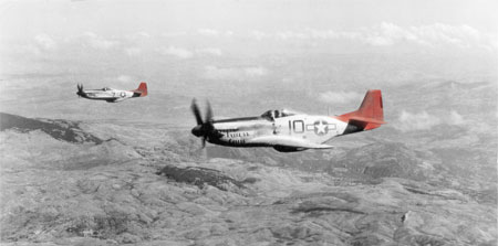 'Red Tails': North American P-51 Mustangs of the 332nd Fighter Group, USAAF, circa 1944 (Courtesy of IWM)