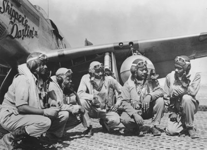 Pilots of the 332nd Fighter Group, USAAF, Ramitelli Airfield, Italy, August 1944 (Courtesy of IWM) From left to right: Lieutenant Dempsey W. Morgan, Lieutenant Carroll S. Woods, Lieutenant Robert H. Nelson, Captain Andrew D. Turner and Lieutenant Clarence P. Lester.