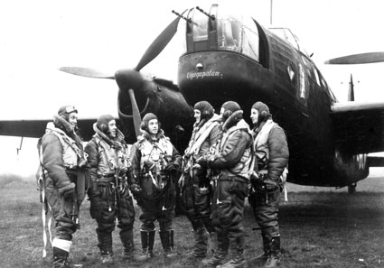Flight Lieutenant William 'Billy' Strachan from Jamaica (far left) was a wireless operator/air gunner with 99 and 101 Squadrons.