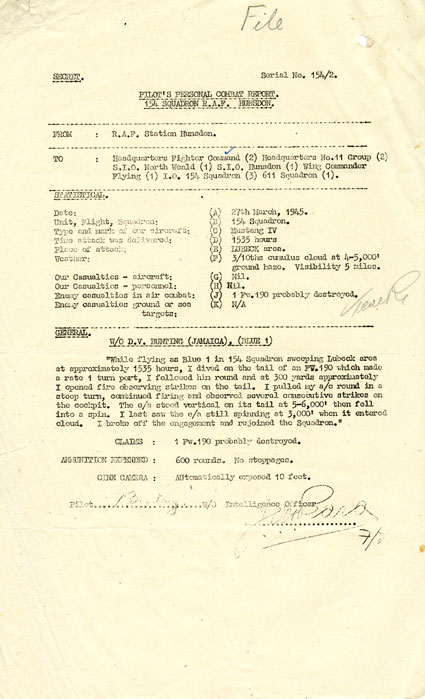 The combat report filed by Bunting on 27 March 1945 claiming the probable destruction of an enemy Focke-Wulf Fw190. (X007-5213)