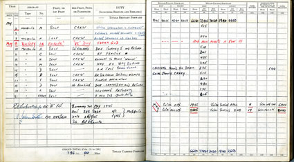 Entry for 8 May 1945 in Flight Lieutenant David Errol Chance's flying log book