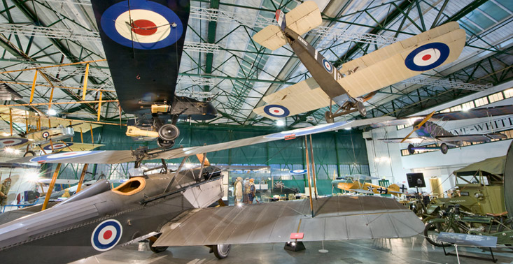 The interior of our First World War in the Air exhibition