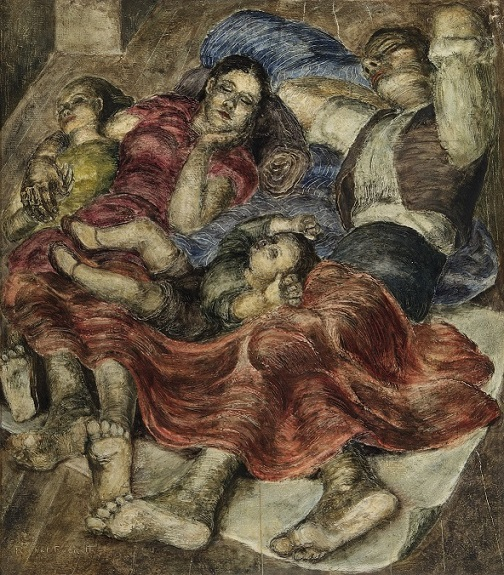 Rachel Reckitt's portrait of Portuguese Refugees asleep in an Underground Station