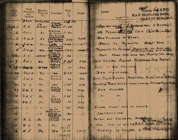 Page from a flying boat pilot's log book reporting a sighting of the torpedoed troop ship 'Persic', 7 September 1918 (RAFM reference X003-9918/001)