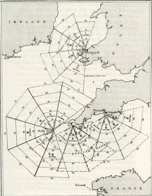 Map showing the anti-submarine patrol grids used by aircraft based at Tresco and neighboring bases, 1917-1918 (The War in the Air Volume 4)