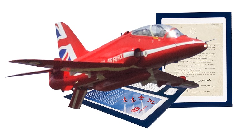 Names on a plane gift certificate with a Red Arrow Hawk Jet