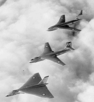 Hawker Siddeley Vulcan B.1 (XA892), Vickers Valiant B.1 (WZ373) and Handley Page Victor B.1 (XA919), 14 September 1957
