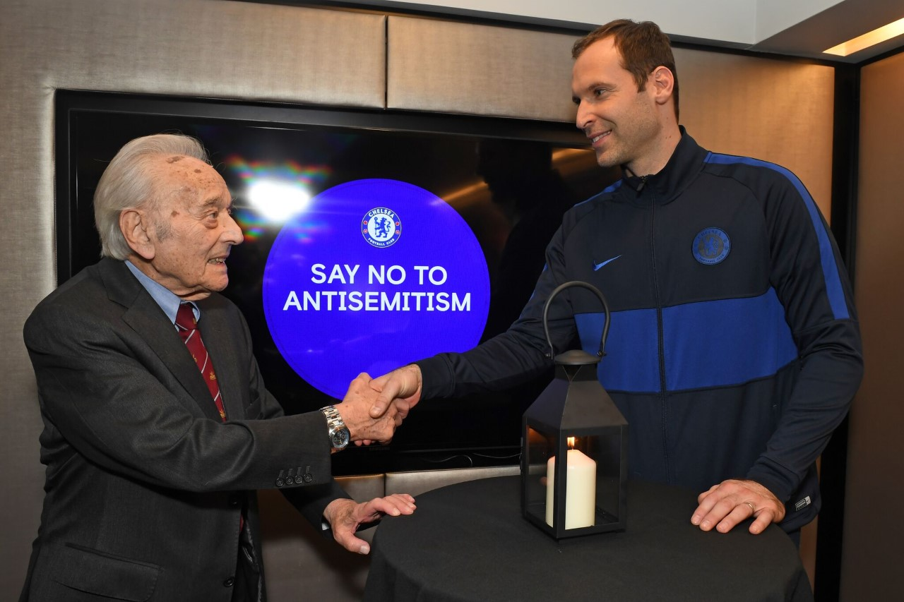 Squadron Leader Lawrence 'Benny' Goodman (left) and Petr Cech, Technical and Performance Advisor and Former Chelsea FC player (right)