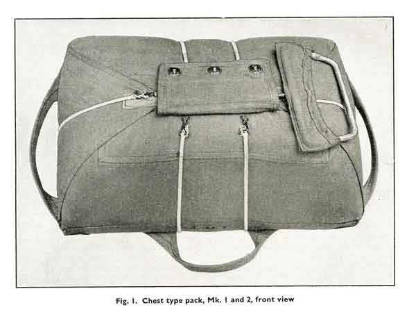 he 'chest type' parachute harness as worn, but not used, by Alkemade (Object No. 13931).