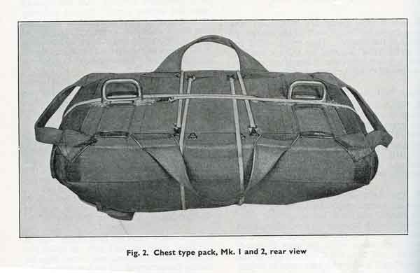 "The 'chest type' parachute pack. The two metal ""D"" rings allowed aircrew to attach it to their harness only when needed. In theory, at least (Object No. 13931)."