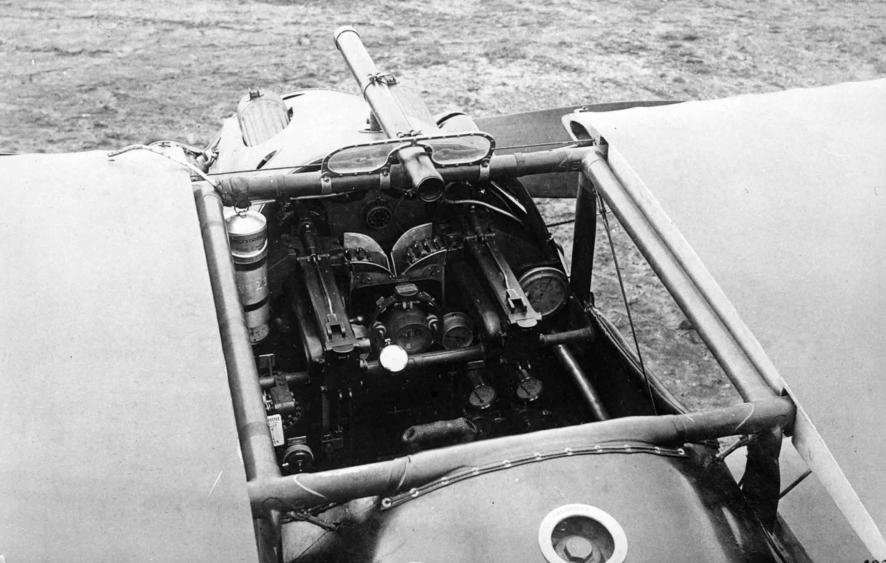 X003-2602/15957: The cockpit area of the second prototype, July or August 1917.  This image, taken at Martlesham Heath, illustrates the confined nature of the Dolphin's cockpit.  Side radiators were fitted by this stage.