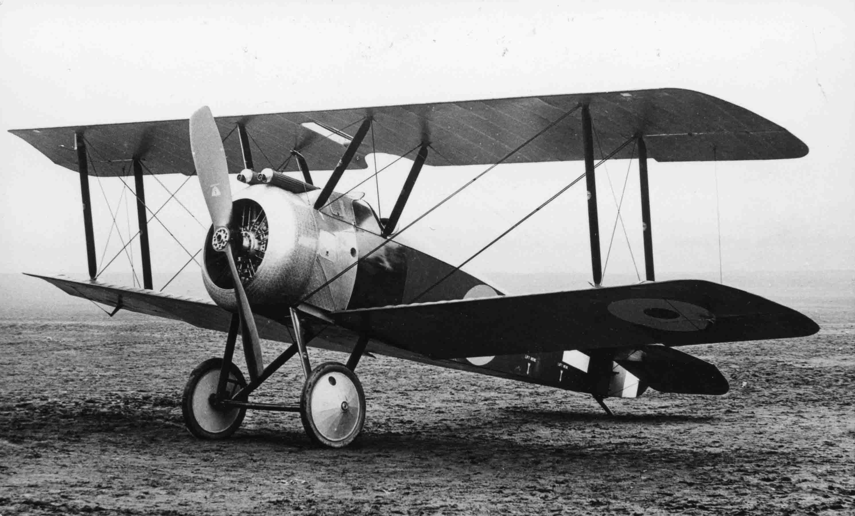 X003-2602-14880: This aircraft, probably the second or third prototype photographed in 1917, was fitted with a revised gun fairing, windscreen, a one-piece upper wing, a centre section cut-out and short-span ailerons.