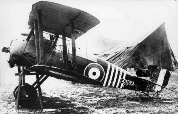 Sopwith 7F.1 Snipe, serial E8102.  Undoubtedly the most famous Snipe was that flown by Major Barker in his epic encounter of 27 October 1918, for which he was awarded the Victoria Cross.  This well-known photograph shows the aircraft after it was crash-landed by Barker.  Although attached to 201 Squadron, this early-production machine flew with five narrow white bands applied to the rear fuselage, in recognition of Barker's service on the Italian Front with 139 Squadron.