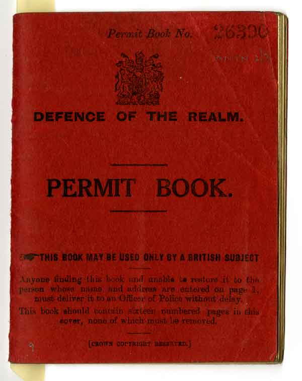 Permit book: Defence of the Realm permit book issued to Manton, 16 March 1917 (AC70/2/2/3)