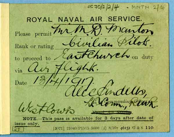 RNAS pass: Royal Naval Air Service Pass issued to Manton, 13 April 1917 (AC70/2/2/4)