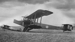 Side view of Handley Page 0/400 C3498 with Bristol MIC