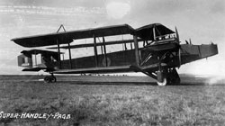 Side view of Handley Page 0/400 J2258 with wings folded