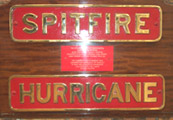 Spitfire and Hurricane nameplates
