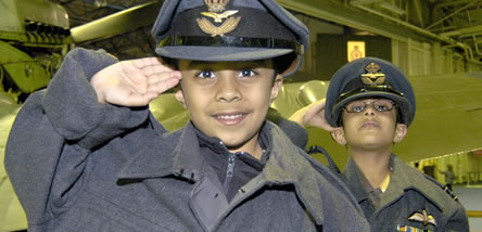2 young gentlemen learning about RAF's history