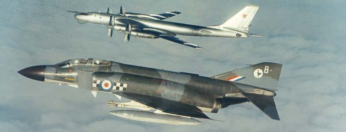 Phantom FG.1 of 43 Squadron intercepting a Soviet Bear, circa 1972