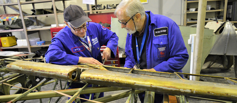 Volunteers working on the Lysander