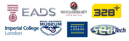 The logos of various sponsors and supporters of the Dornier 17 campaign including the National Heritage Memorial Fund & Wargaming.net