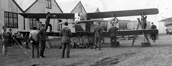 Avro Biplane being readied for the Military A