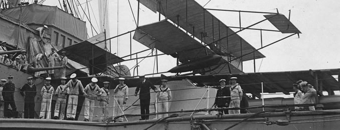 Short Biplane aboard HMS Hibernia for the Roy