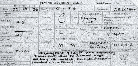 One of our aircraft record cards.