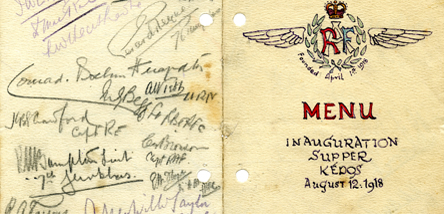 A signed menu from 1918.