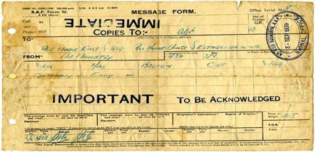 Telegram giving notice of outbreak of War.