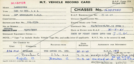 One of the many vehicles cards that we hold in our collection.