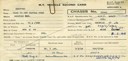 One of the many vehicle cards that we hold in our collection.