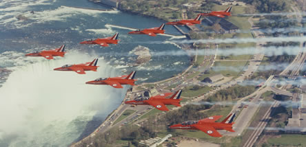 The Red Arrows flying over Niagara Falls, 1972