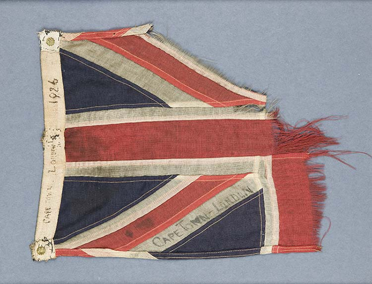 The Union Flag from Sir Alan Cobham's record breaking flight to Cape Town
