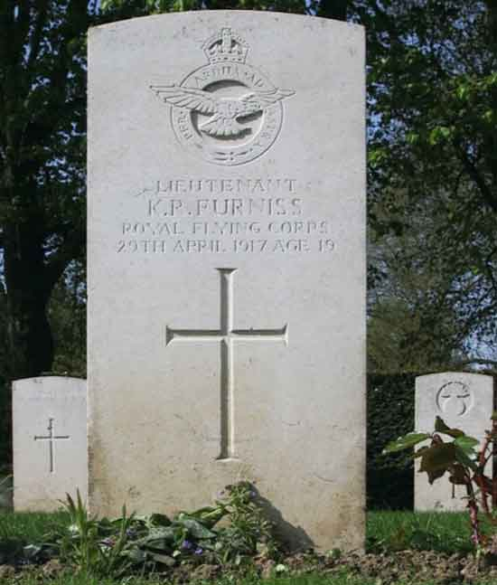 Kevin Furniss' headstone in Cambrai-East Cemetery with thanks to Tim Brearley, of the Commonwealth War Graves Commission