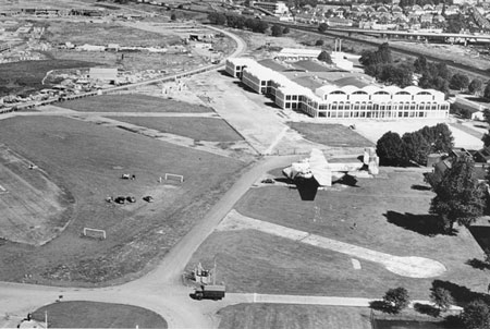 Aerial view of the RAF Museum and Grahame Park Estate under construction in the early 1970s