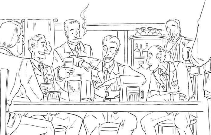 Uncoloured panel from Historic Hendon Graphic Novel showing men at a pub