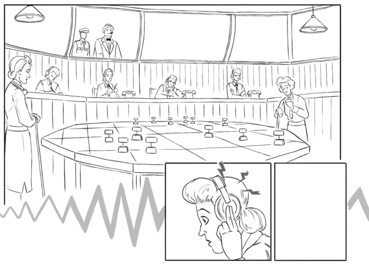 Uncoloured panel from Historic Hendon Graphic Novel showing WAAFs at work