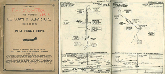 A booklet containing the procedures for approach of aircraft to Chinese and Indian airfields and a couple of pages from the booklet showing the procedures for approach to Kunming and Kwanghan airfields