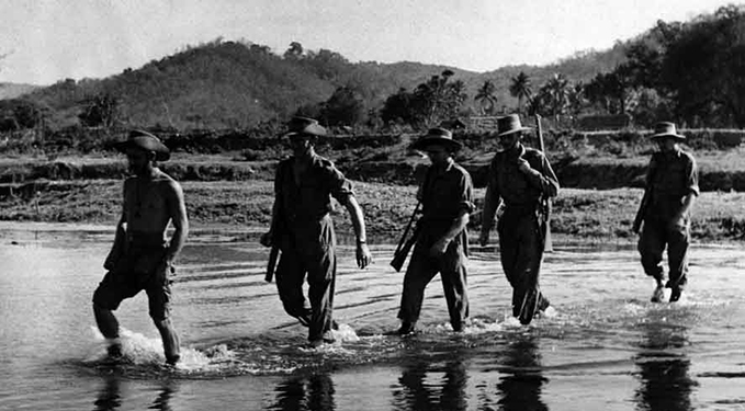 Chindits crossing a stream in 1944
