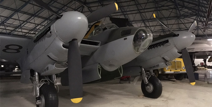 The Mosquito in its new place within Bomber Hall