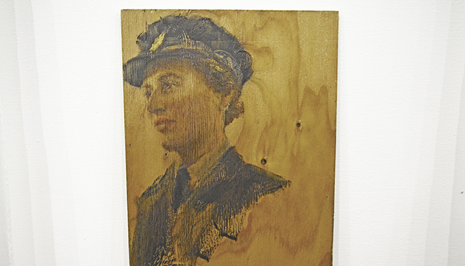The portrait of Betty (Speedy) Rees in War Brides Exhibition at the RAF Museum London